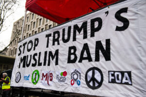 London, UK. 4th February 2017. Stop Trump's Muslim Ban rally - Thousands march through central London, in protest of President Donald Trump's Muslim ban and his state visit to the UK. By John Gomez